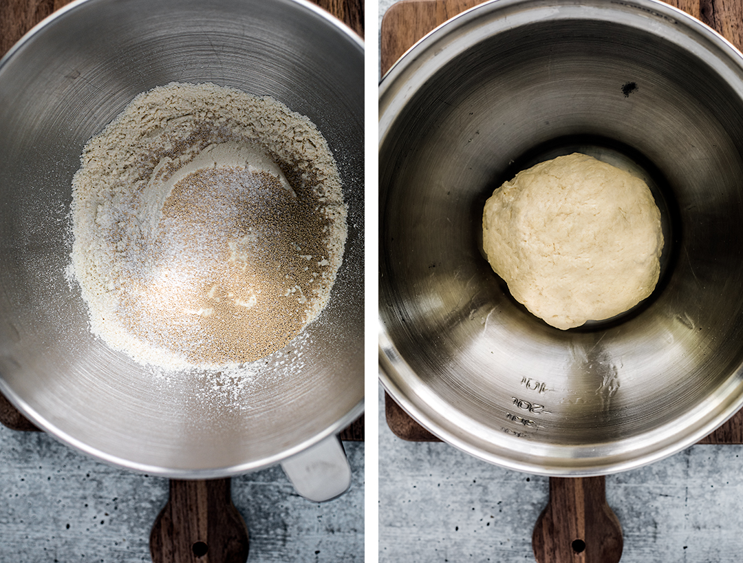 Side by side shots of pizza dough ingredients before being mixed, and ball of pizza dough.