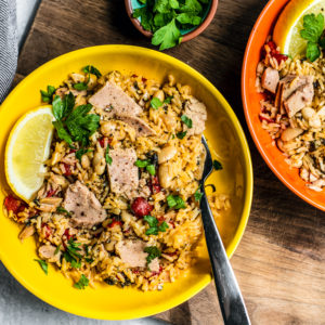 Two large bowls of Mediterranean Instant Pot Rice.