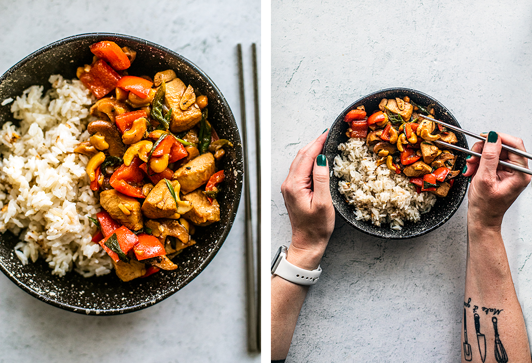 Left photo: close up on bowl of rice with cashew chicken; right photo: hands holding bowl and using chopsticks over bowl of rice and cashew chicken.