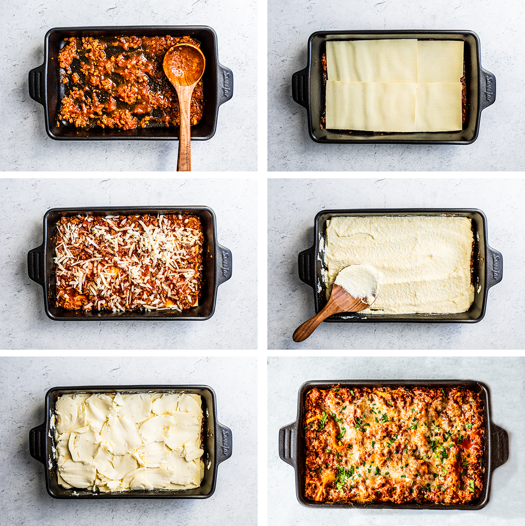 Collage of lasagna being layered step by step.