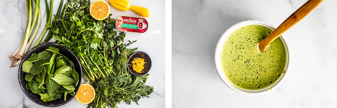 Right photo: fresh herbs, lemons, scallions, and a can of anchovies laid out; Left photo: a small white bowl with green goddess dressing in it.