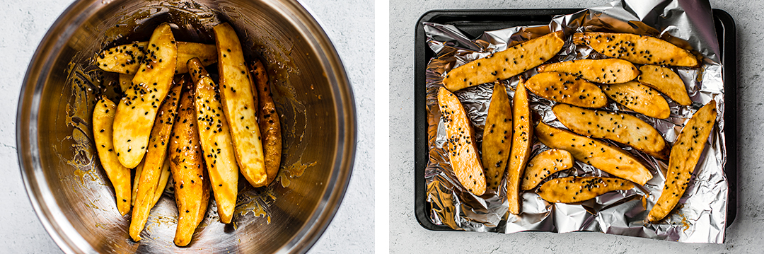Left: Baby sweet potatoes halved and tossed in a bowl with honey miso; Right: Baby sweet potatoes scattered over a baking sheet with tin foil.