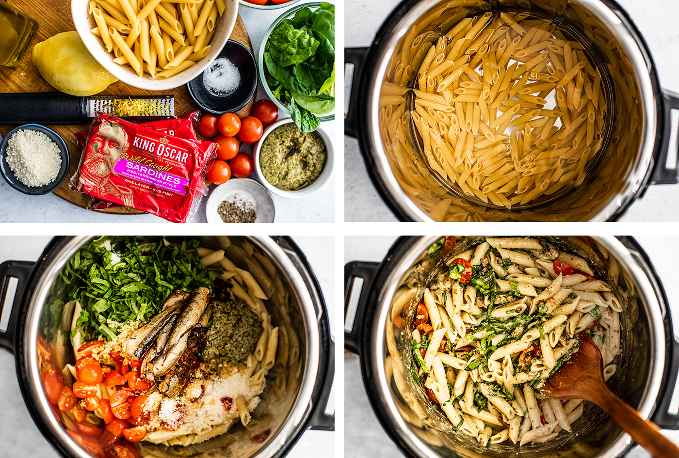 Overhead collage of instant pot steps and ingredients.