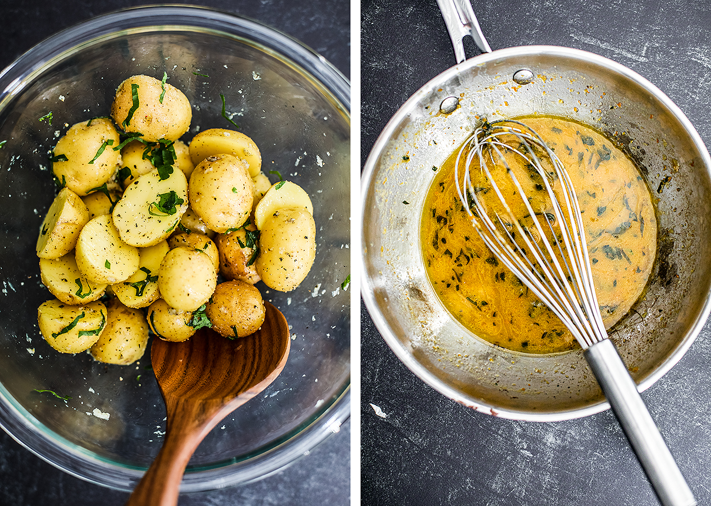 Uncooked potatoes in bowl mixed with seasoning and saucepan with whisked bagna cauda.