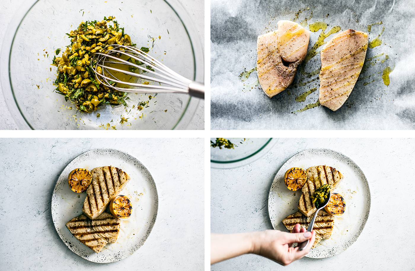 Overhead process shots of grilled swordfish and marinade being prepared.