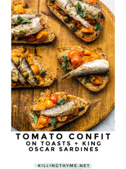 Tomato Confit on Toasts with Sardines pin.