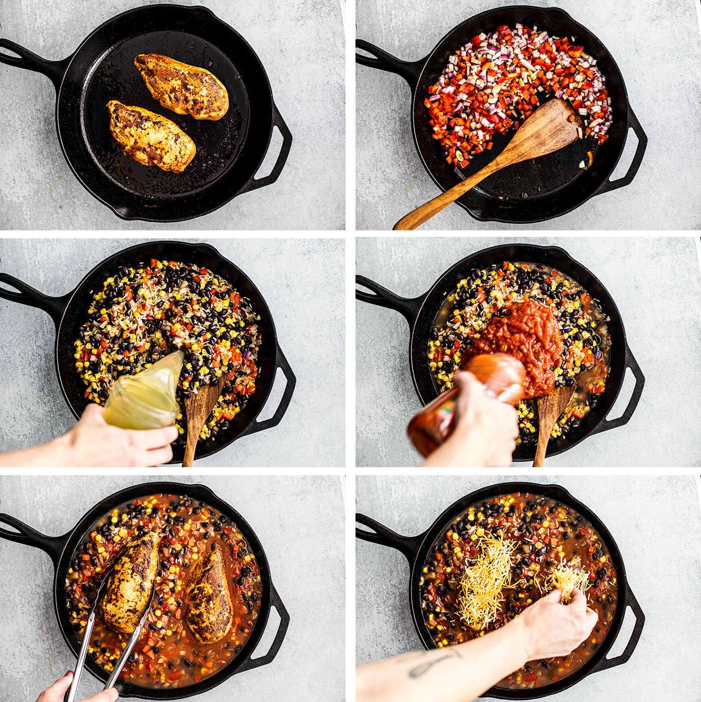 Process steps being shown for searing chicken and simmering vegetables.