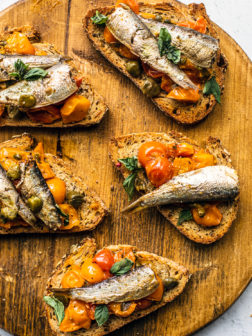 Quick Tomato Confit on Toasts with King Oscar Sardines