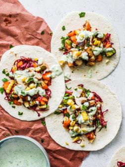 Grilled Mahi-Mahi Fish Tacos with Creamy Jalapeño Sauce