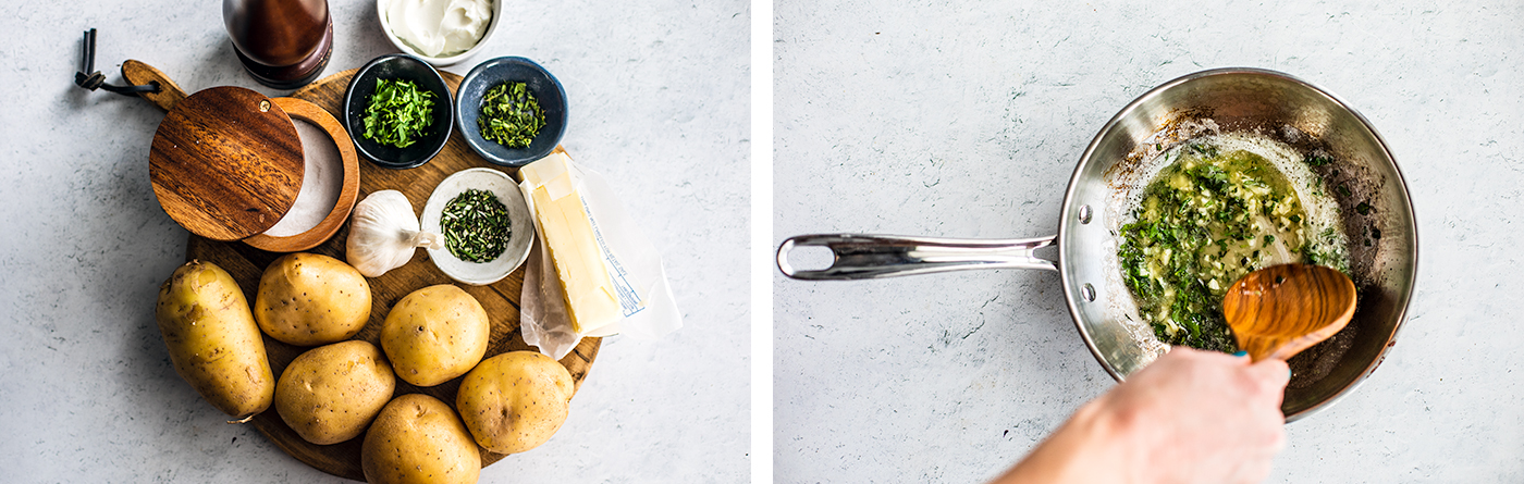 A photo of the ingredients set on a cutting board, and a saucepan with melted butter and herbs in it being stirred.