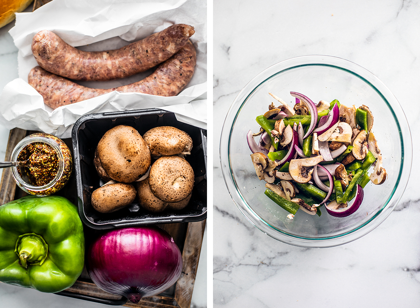 Green bell pepper, red onion, mushrooms and sausages on a serving tray, and a bowl of prepared chopped veggies.