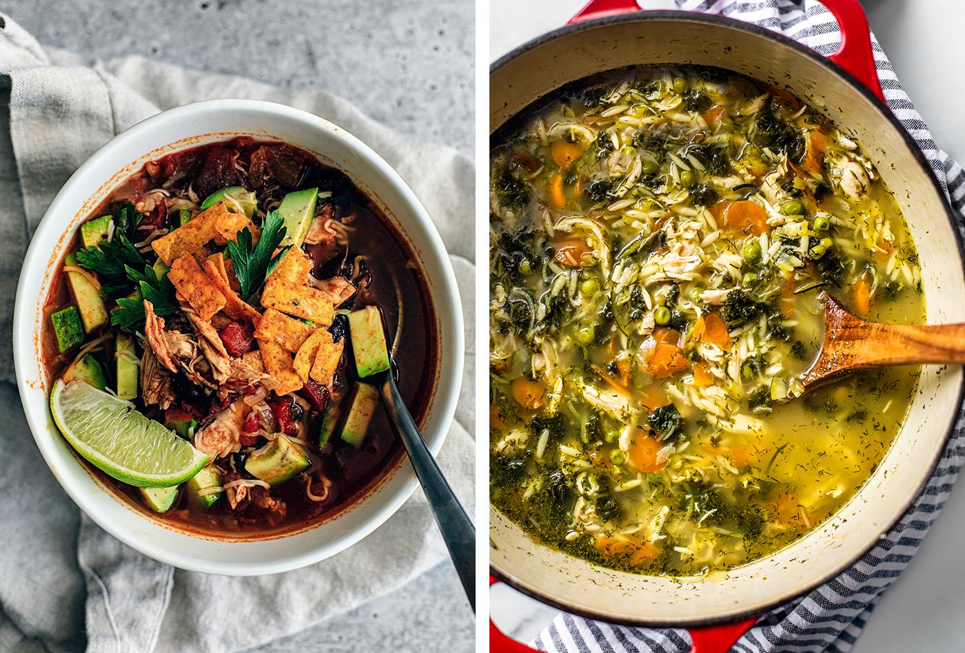 Right: Bowl of chicken tortilla soup; Left: large pot of orzo lemon soup.