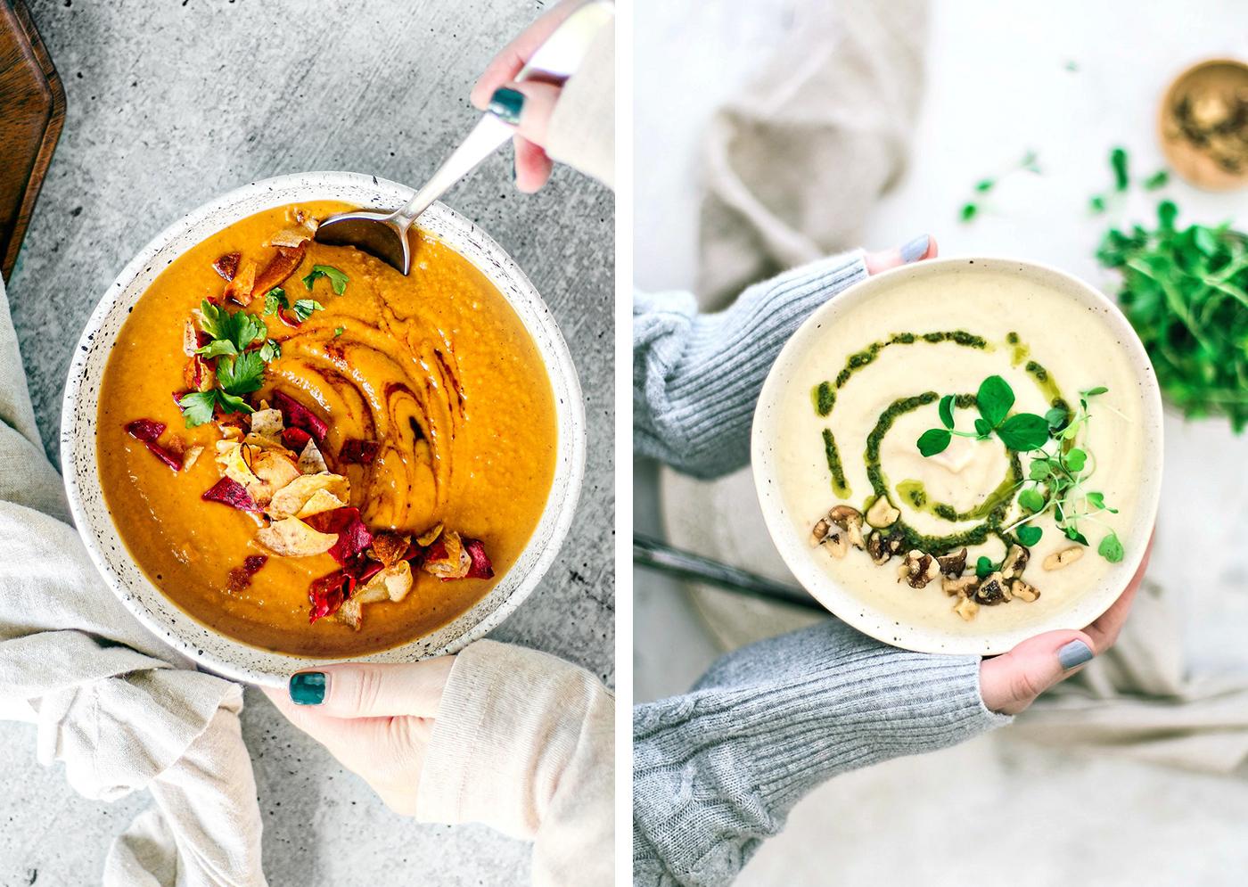 Left: Sweet Potato Soup; Right: Caulifloewr soup.