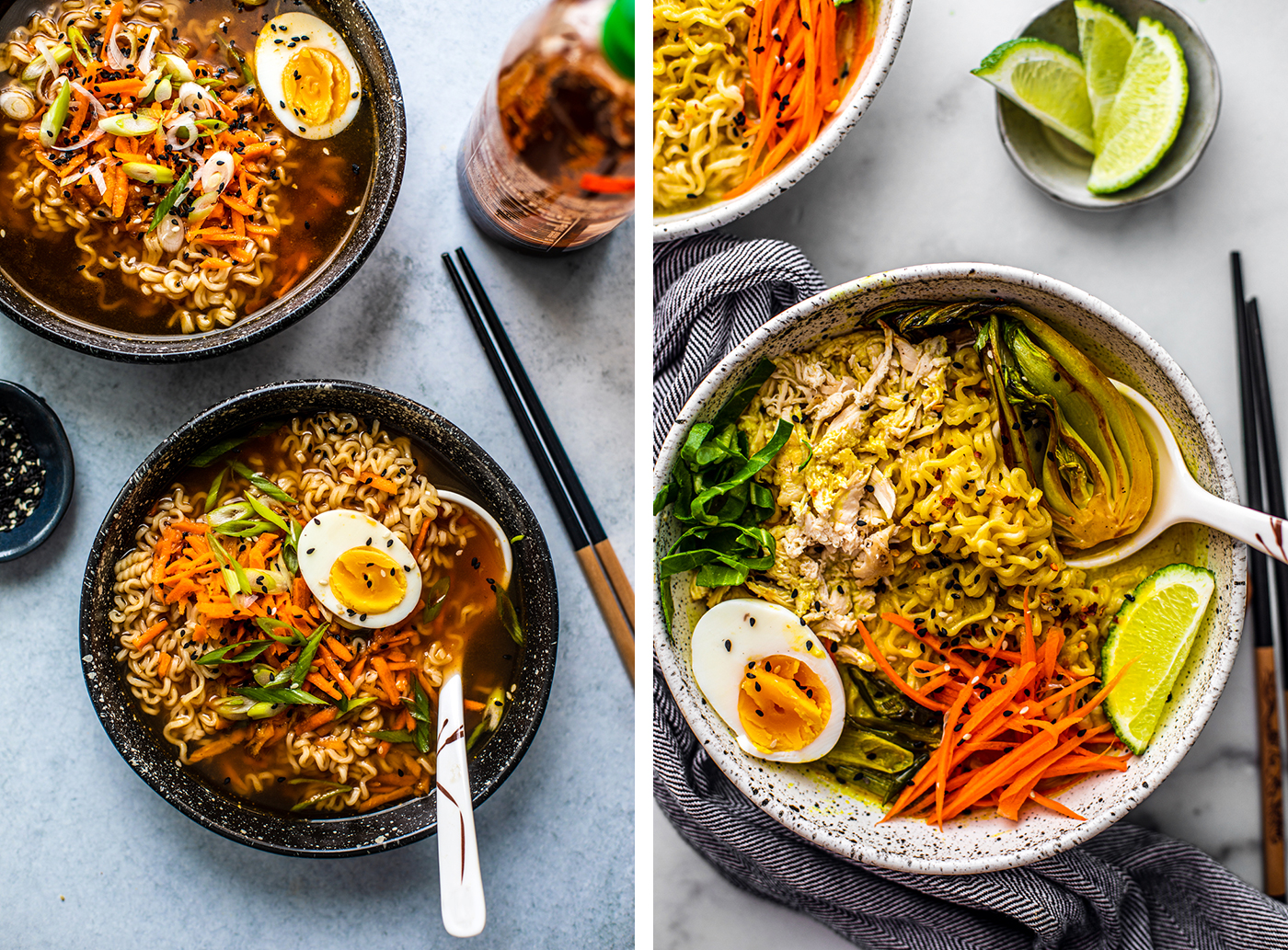 Left: Ramen bowl with soft-boiled eggs; Right: Chicken Curry Ramen Bowl with bok choy.