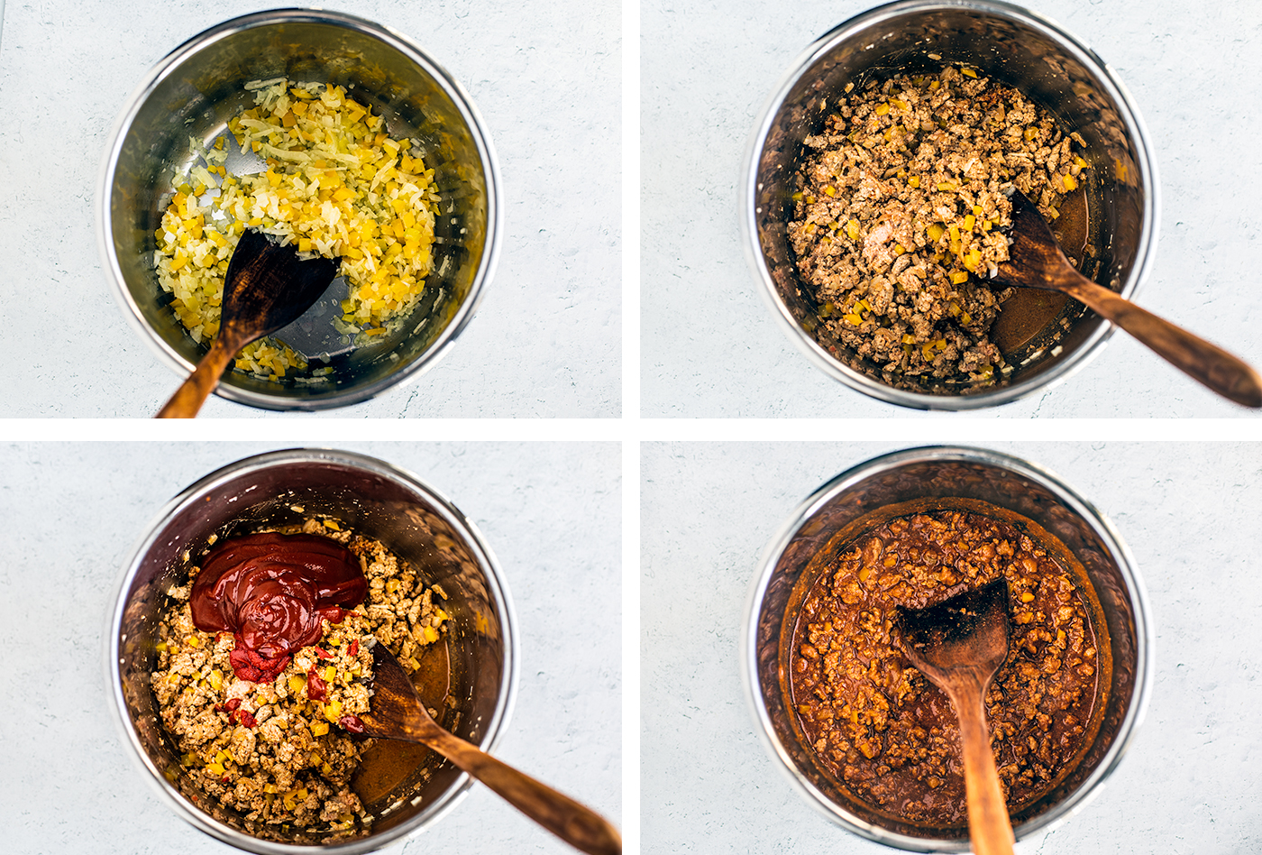 Process shots of cooking vegetables and ground turkey in Instant Pot.