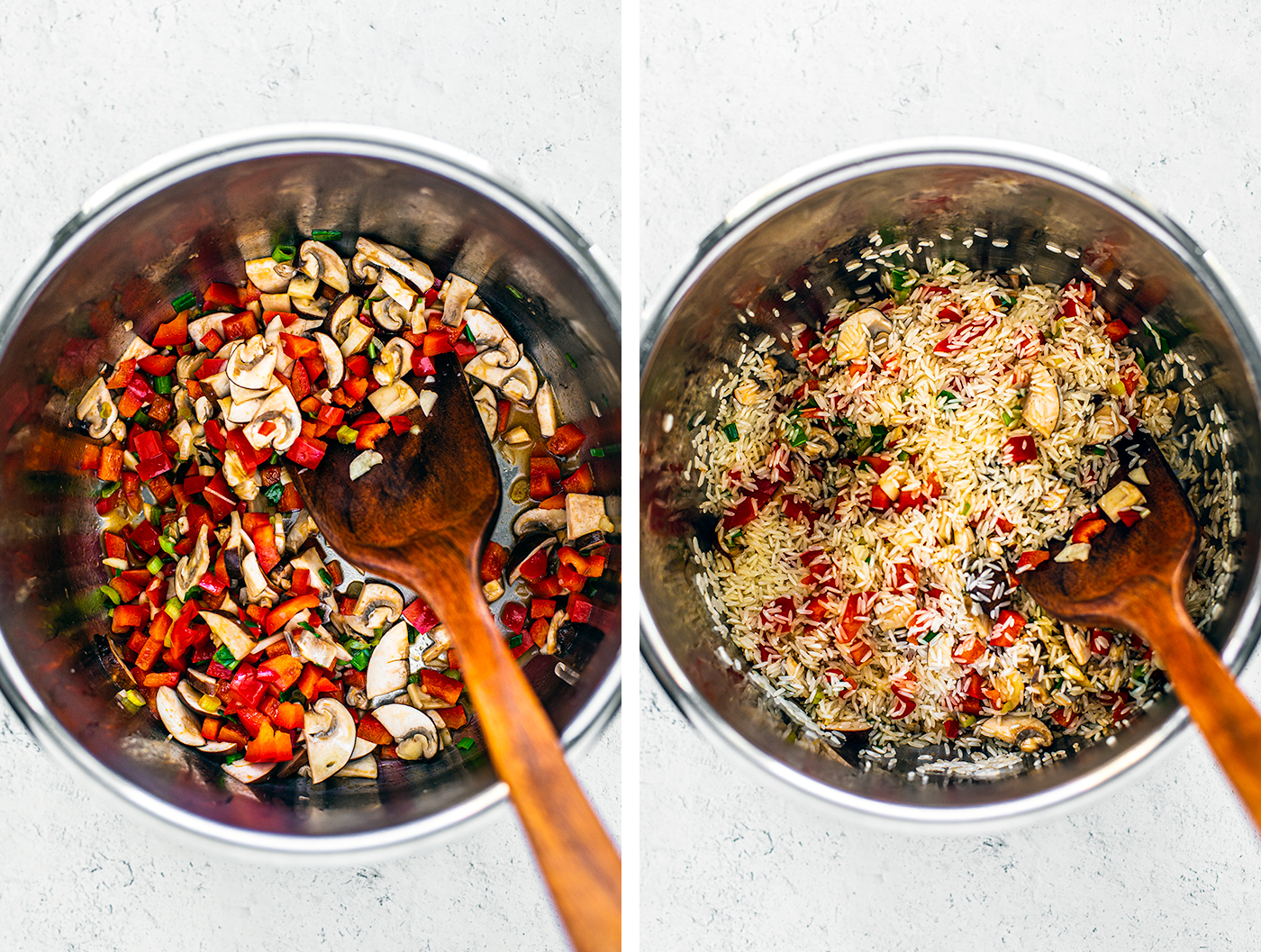 Left: Instant Pot with vegetables in it; Right: Instant Pot with vegetables and rice added.